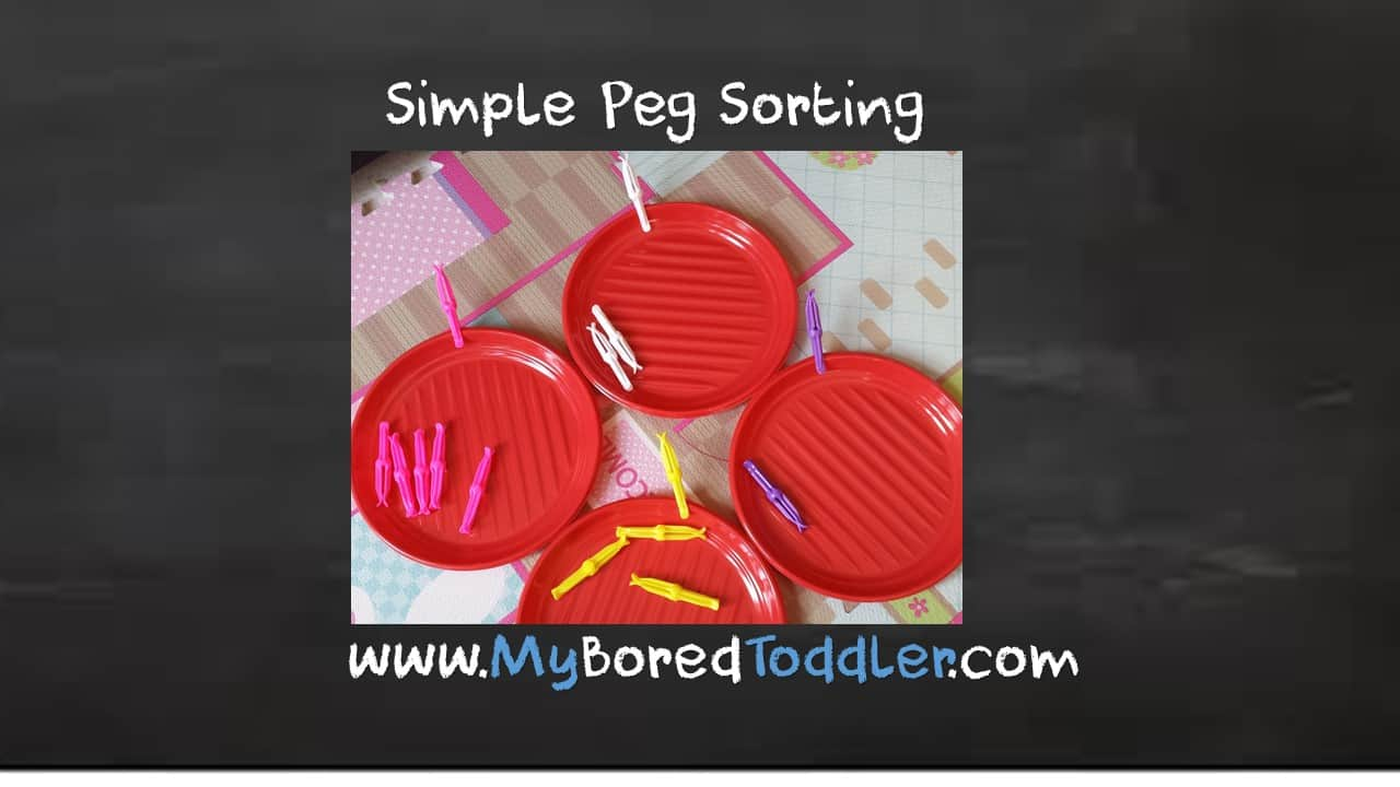 Simple toddler activity – peg sorting