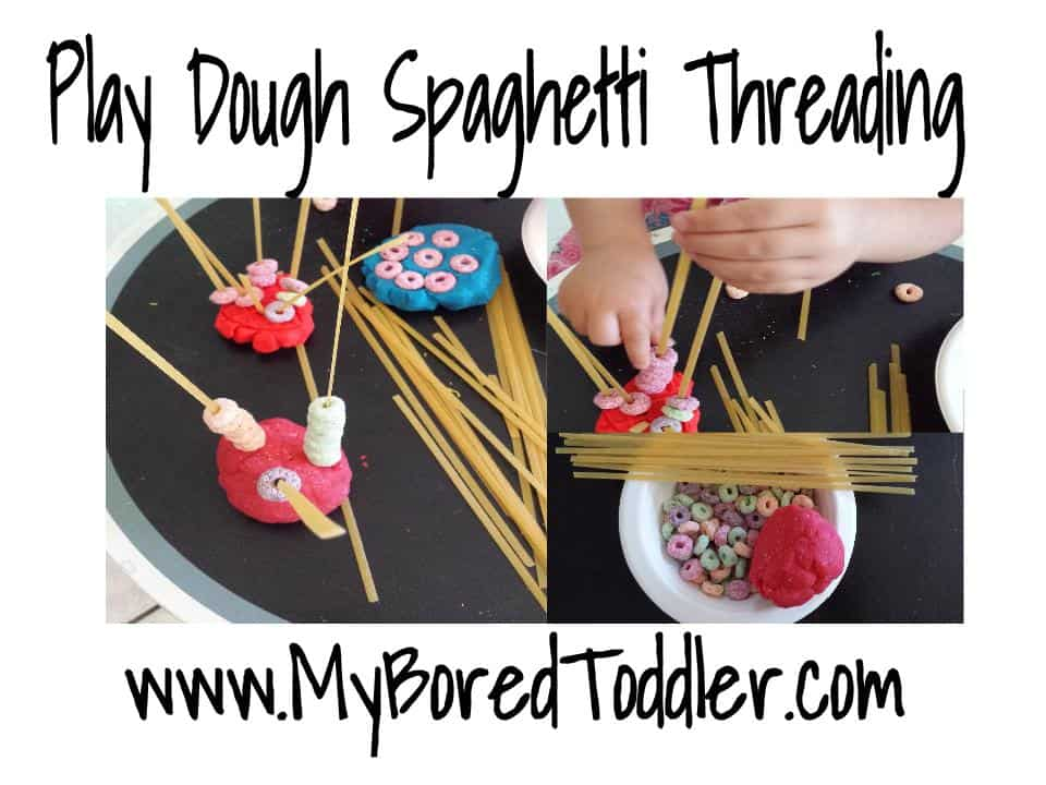 Play Dough spaghetti and cheerios fine motor activity