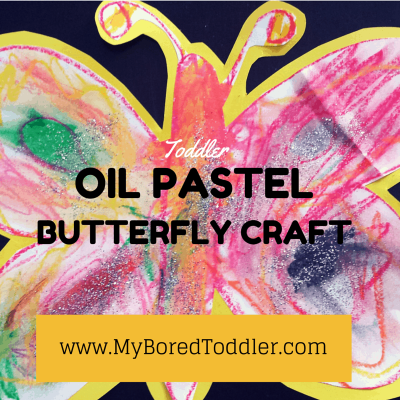 Oil pastel butterfly toddler craft activity