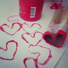 toilet roll heart stamping toddler activity