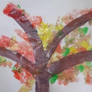 autumn fall finger print painting toddler craft