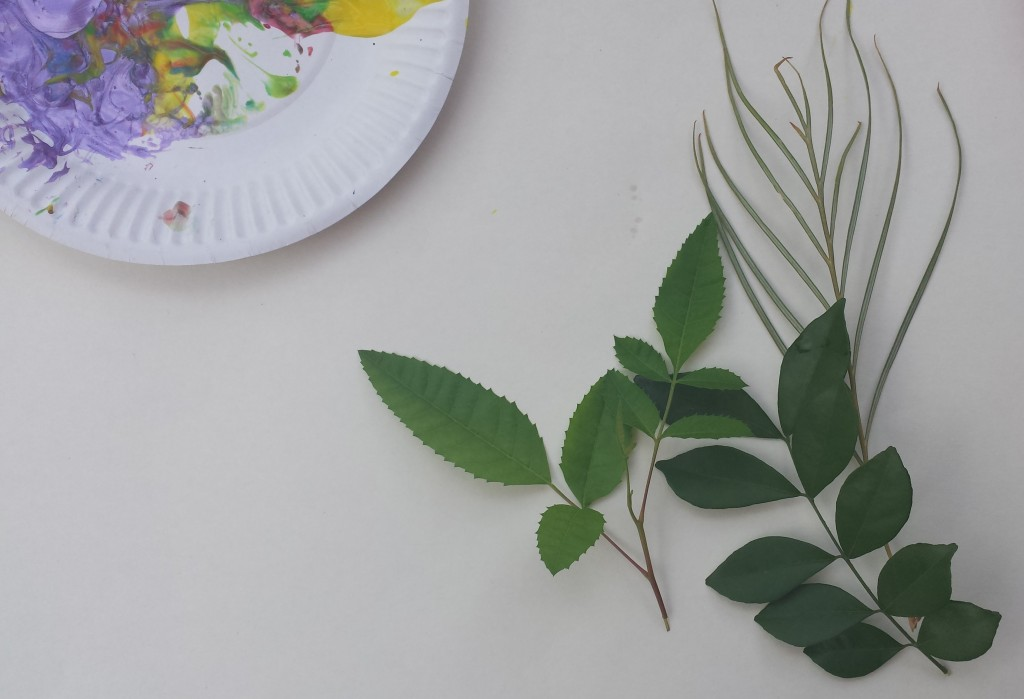 toddler painting ideas leaf painting