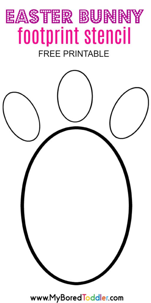 Easter bunny footprint stencil my bored toddler for Bunny feet template printable
