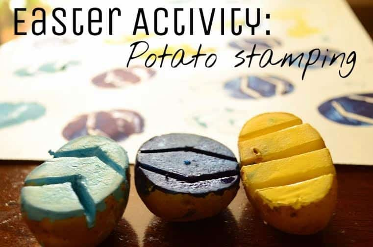 easter potato stamping