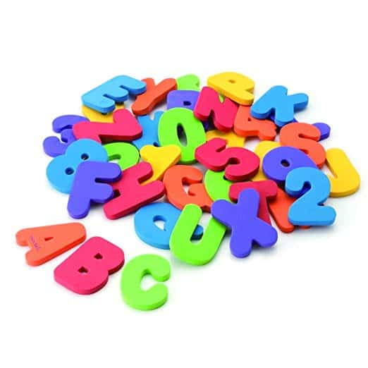 foam letters for bath time for toddlers