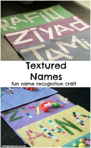 activities for toddlers - textured names
