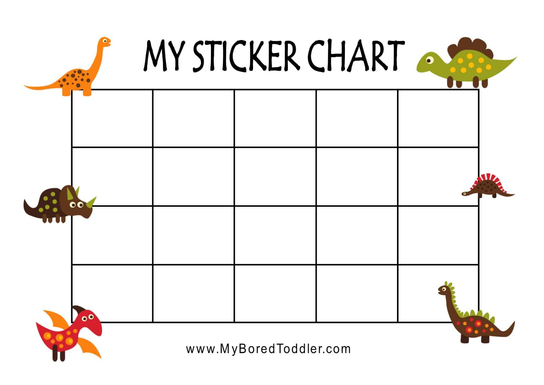 Dinosaur Printable Reward Chart Sticker For Toddlers Preschoolers
