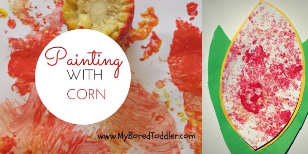 Thanksgiving craft for toddlers – painting with corn