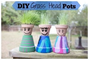 summer toddler activity diy grass head