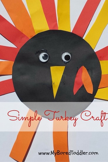 Thanksgiving Craft For Toddlers From My Bored Toddler Such A Cute And Easy Turkey So Easy To Cut Strips Of Paper And Make This Craft