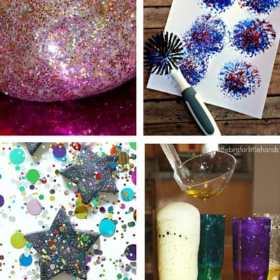 New Year's Eve Activities for toddlers playdough, firework painting, glitter playdough, science