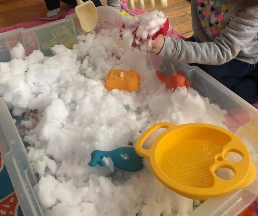 real snow sensory bin for toddlers