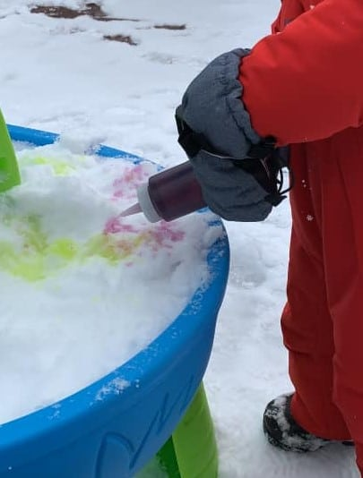 snow painting for toddlers with real snow