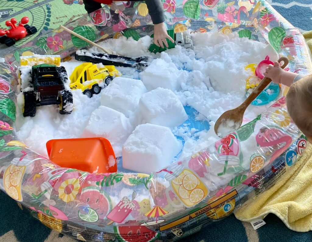 real snow sensory play inside