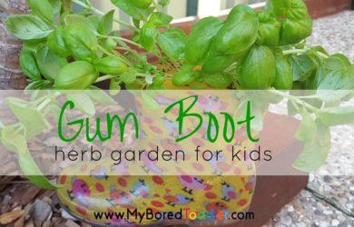 Gum boot herb garden for kids feature