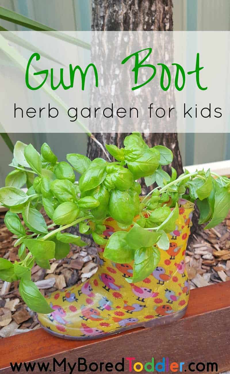 gum boot herb garden for kids pinterest