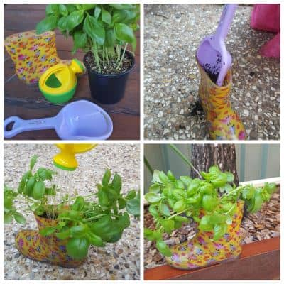 gum boot herb garden for kids