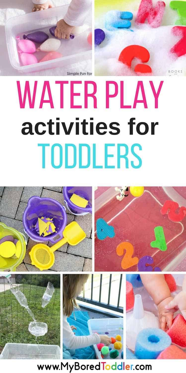 water play activities for babies and toddlers pin. Great summer fun for 1 year olds, 2 year olds and 3 year olds. Toddler water play ideas and activities.