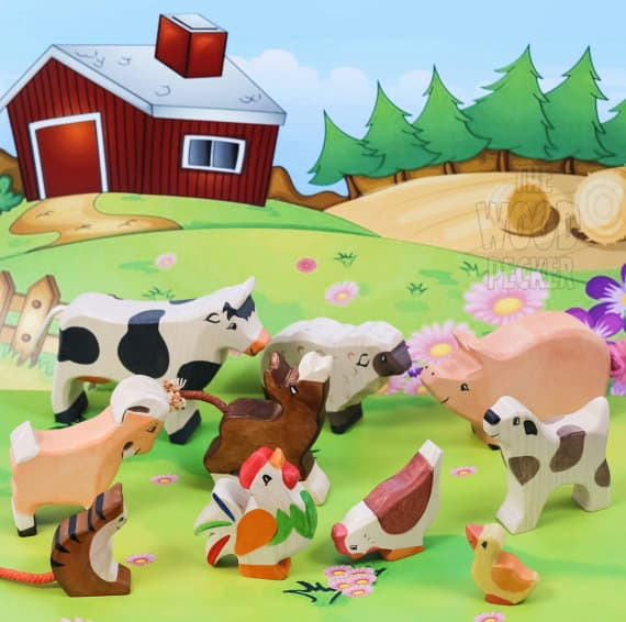 wooden farm animal toddlers