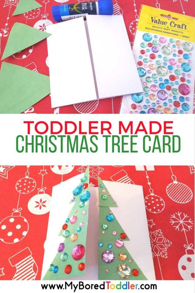 toddler made christmas tree card craft