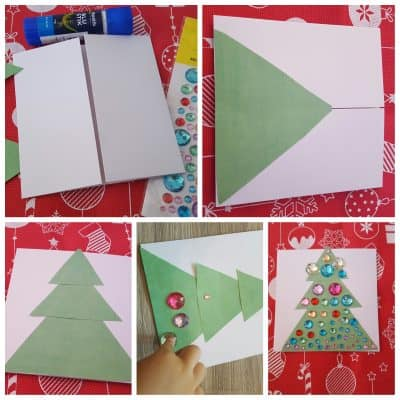 toddler made christmas card christmas tree