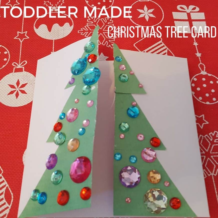 toddler made christmas tree card square - Christmas Tree Card