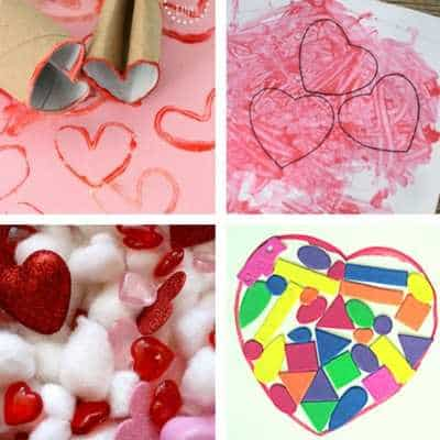 Valentine's Day activities for toddlers. Lots of fun toddler valentine's day crafts and activities including love heart stamping, cards sensory bins and sticker art