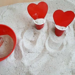Toddler Sandbox heart valentines day play activity sensory play