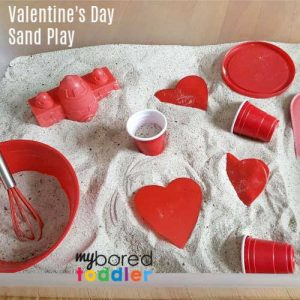 Valentine's day sand box play sensory bin