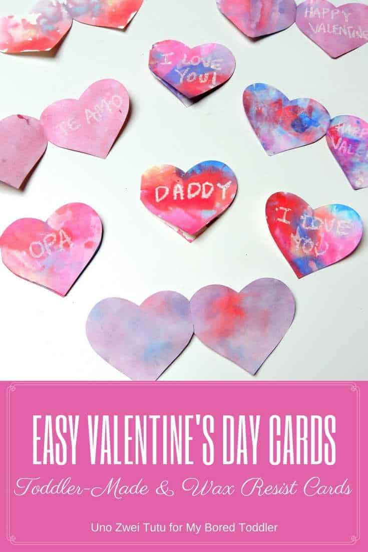 toddler made wax resist cards for valentines day a great toddler craft activity using hearts