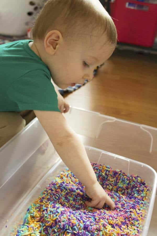 st patricks day sensory rice play digging for gold