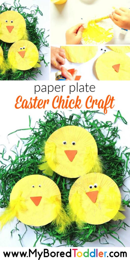 paper plate Easter Chick craft for toddlers at Easter