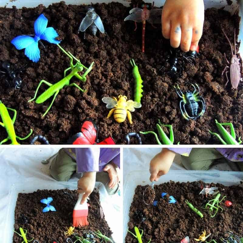 soil and insects sensory bin for toddlers taste safe toddler activity