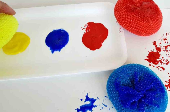 Painting with Pot Scrubbers
