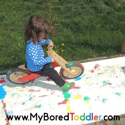 painting with a balance bike