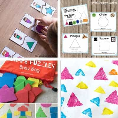 shape activities for toddlers - shape matching, shape playdough mats, shape busy bags, shape stamping