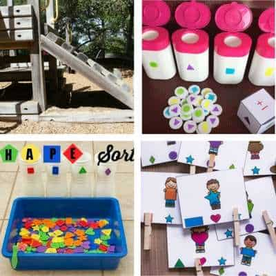 shape activities for toddlers playground shape hunt shape sorting shape matching cards