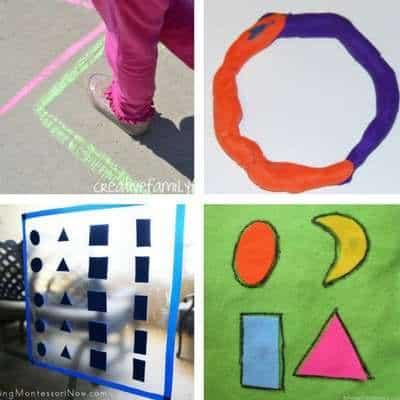 shape activities for toddlers shape hopscotch shape playdough shape window stickers shape no sew book