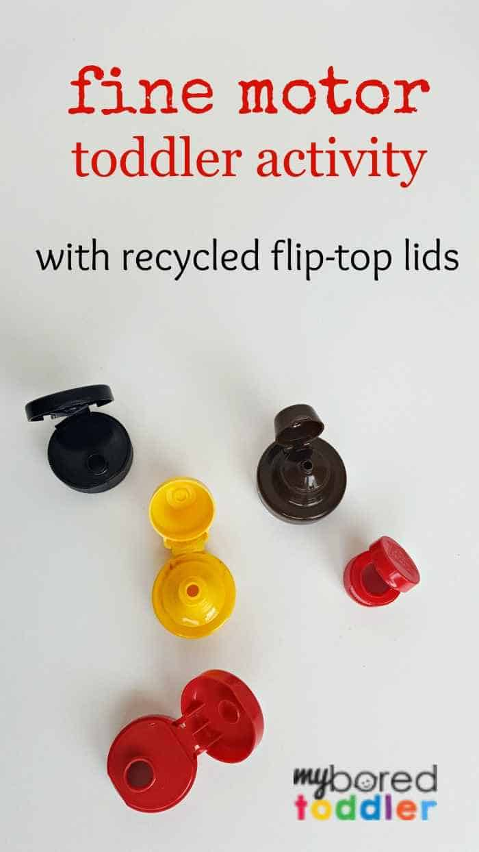 This fine motor activity for toddlers is lots of fun and uses only recycled materials. Using various flip top lids you can entertain a toddler for quite a while! A fun toddler activity.