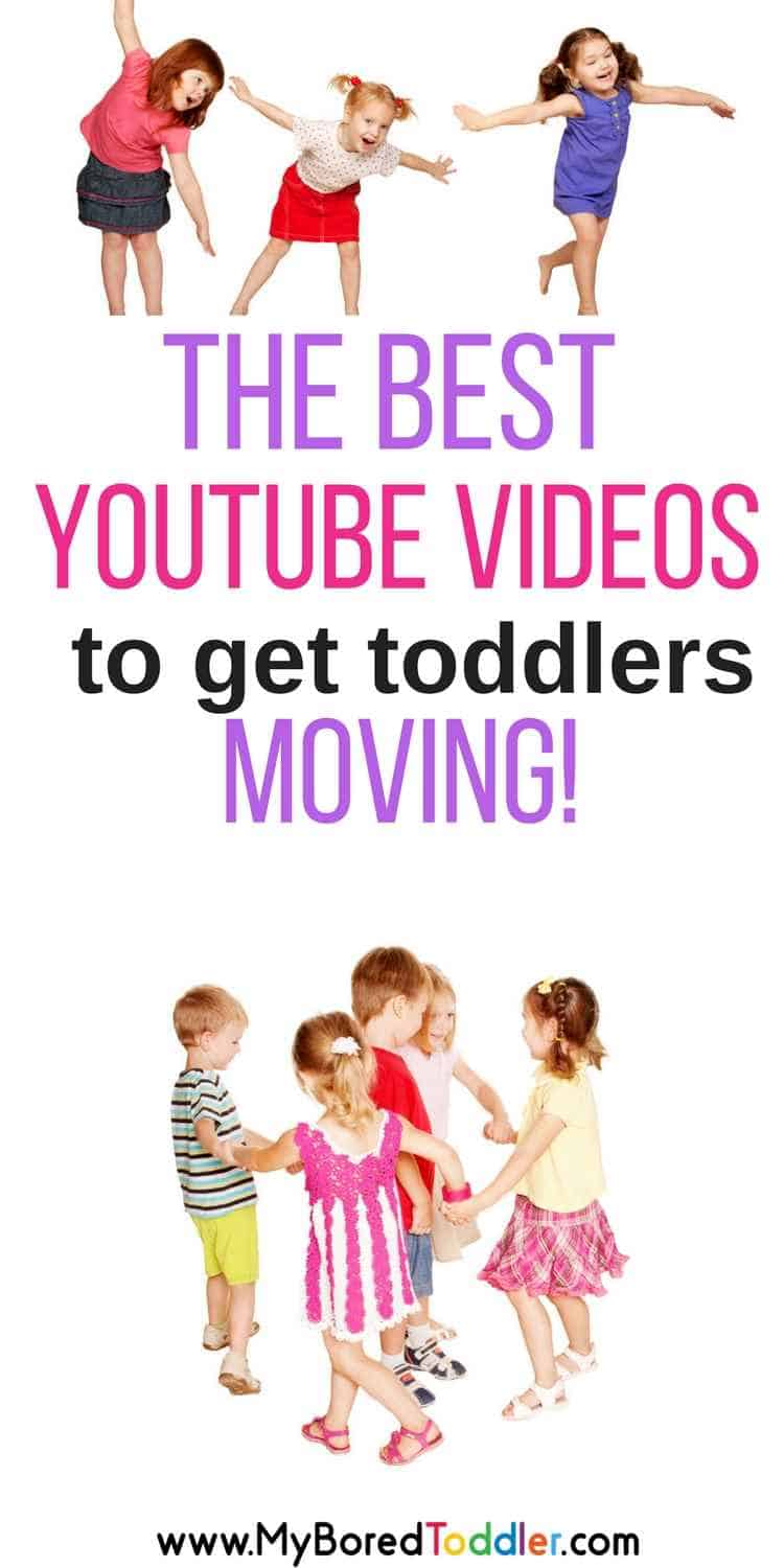 the best youtube videos to get toddlers moving. If you are looking for fun videos to get your 1 year old, 2 year old or 3 year old jumping and dancing around inside then these videos are perfect!