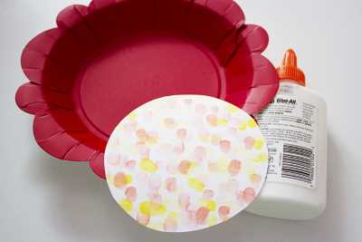 paper plate & fingerprint flower craft 6