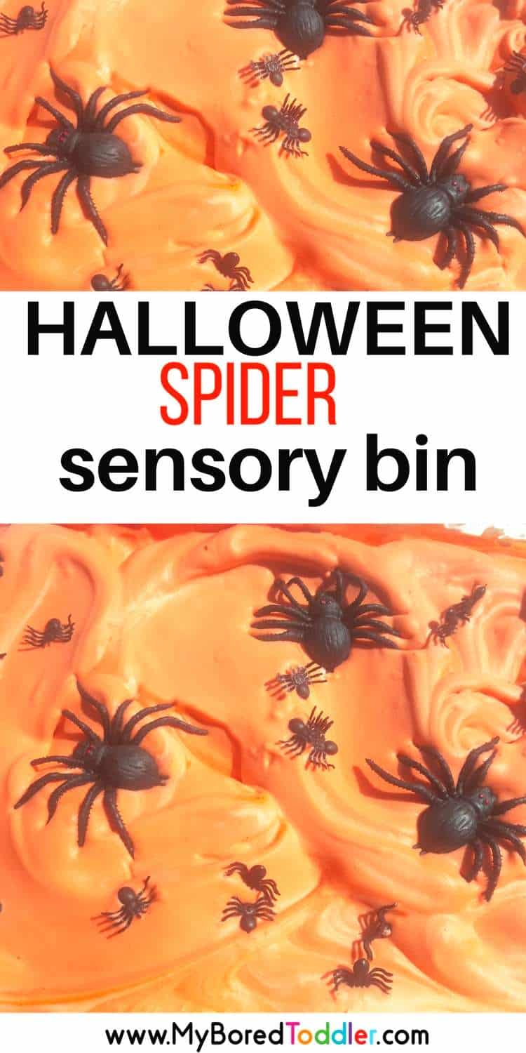 HALLOWEEN SHAVING CREAM AND SPIDER SENSORY BIN. Such a fun toddler Halloween sensory play idea. Shaving cream sensory play is always fun! #halloween #messyplay #sensorybin
