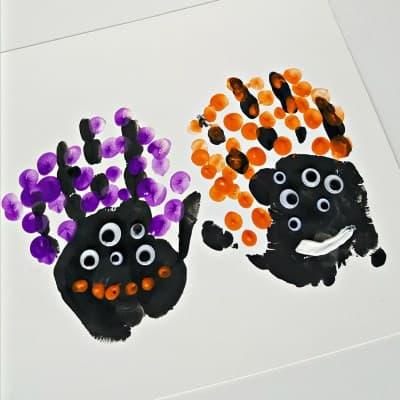 Halloween handprints painting activity