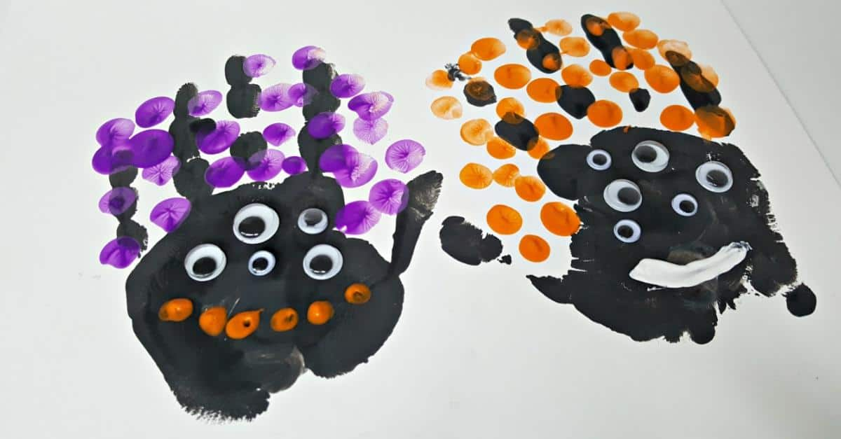 Halloween handprints toddler activity