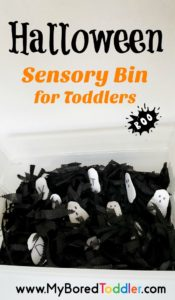 Halloween ghost sensory bin for toddlers. An easy to set up sensory bin for Halloween. #toddleractivity #halloweensensorybin #sensorybins #halloweentoddlers