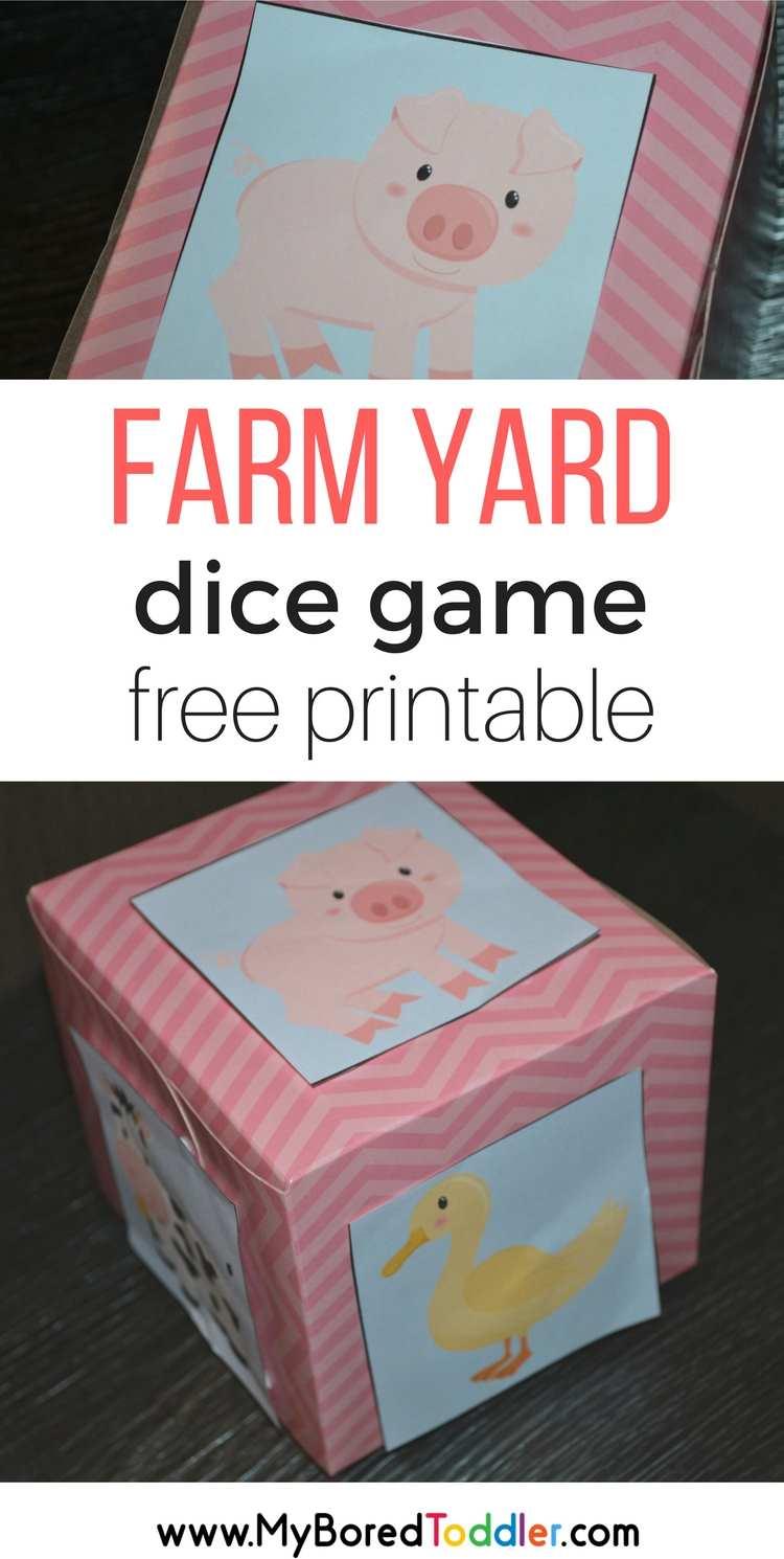 farm yard dice game free printable