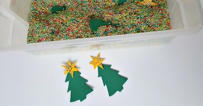 Christmas theme sensory tub with stars