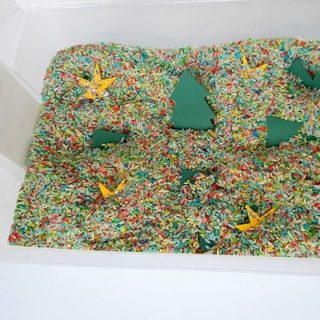 Christmas theme with foam trees in the sensory tub 2