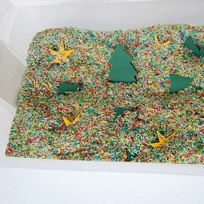 Christmas Tree Sensory Bin for Toddlers