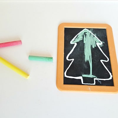 Christmas tree chalkboard art activity for toddlers 2